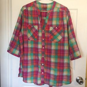 2X Women's Merona Button Down Plaid Colorful Shirt